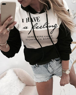 Hooded Letter Print Colorblock Sweatshirt