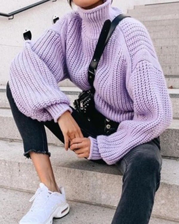 Solid Color Long Sleeve Loose Sweater