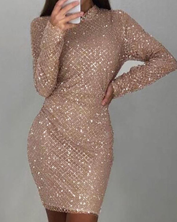 Shiny Sequins Long Sleeve Bodycon Dress