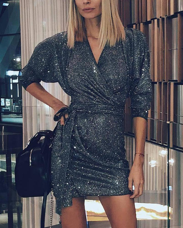V Neck Glitter Mini Dress