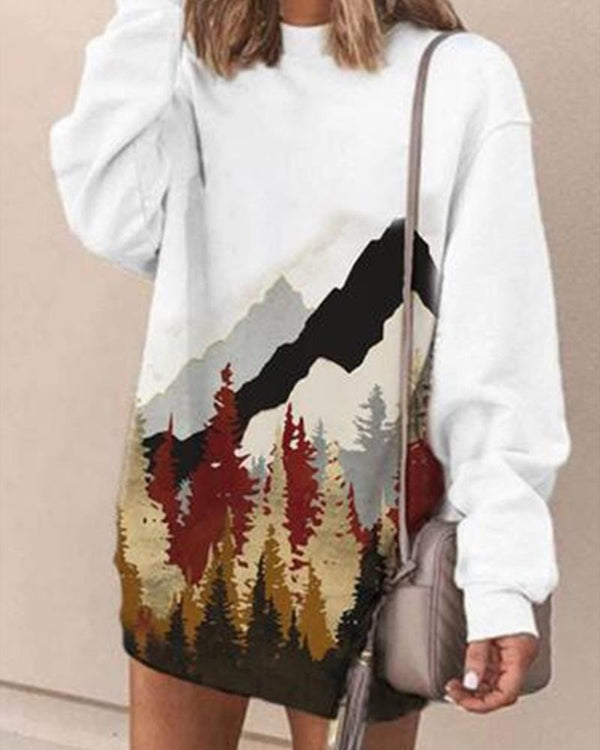 Scenery Printing Long Sleeve Sweatshirts