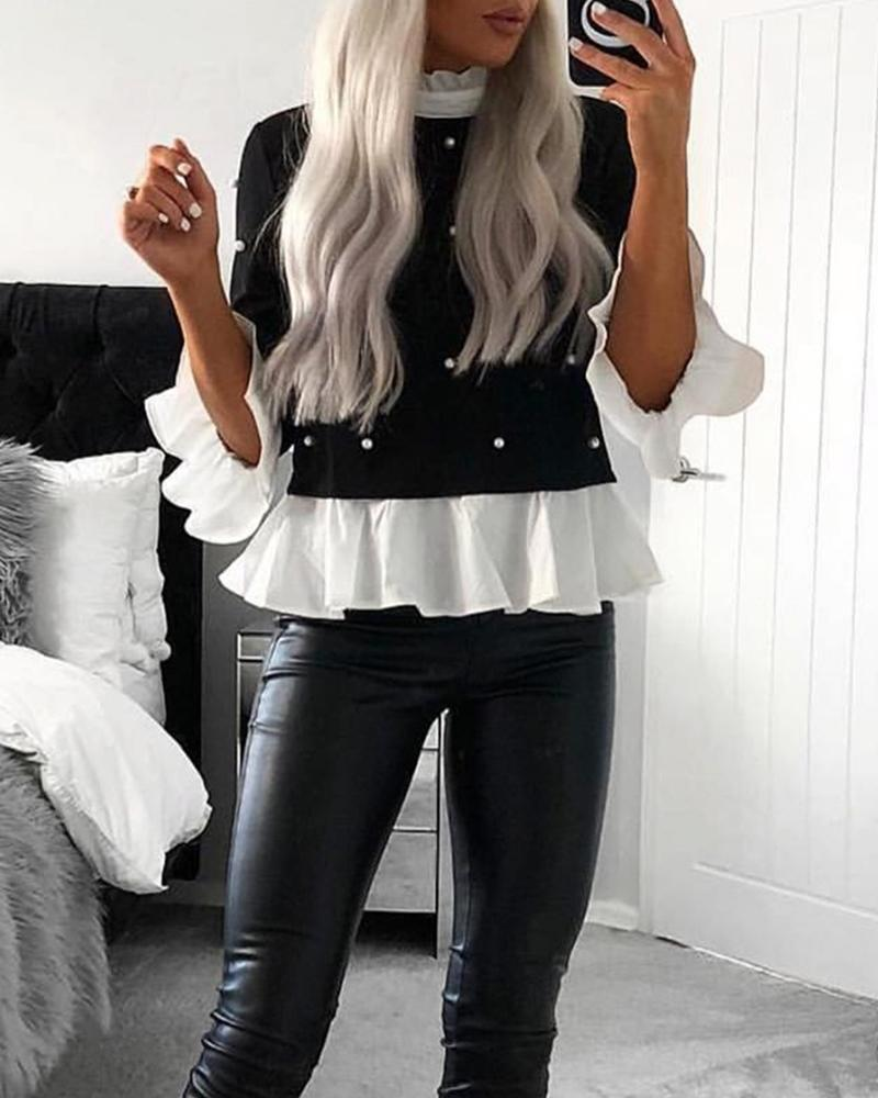 Contrast Ruffle Trim Statement Top