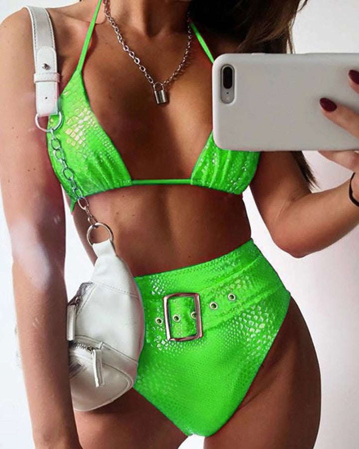 Halter Crocodile High Waist Bikinis Set
