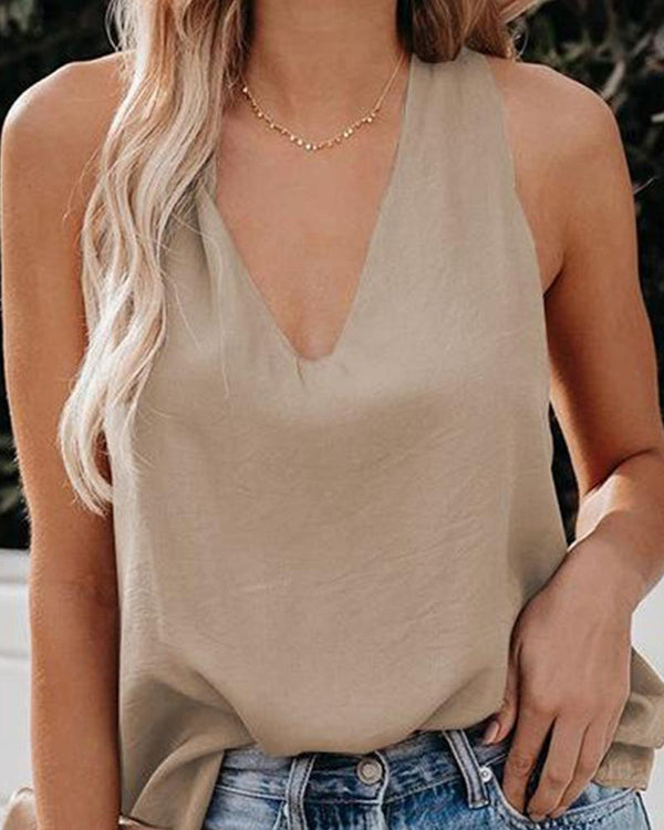 Solid V Neck Cami Top