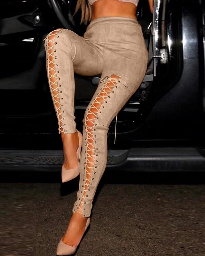 Slit Lace-Up Detail Pants