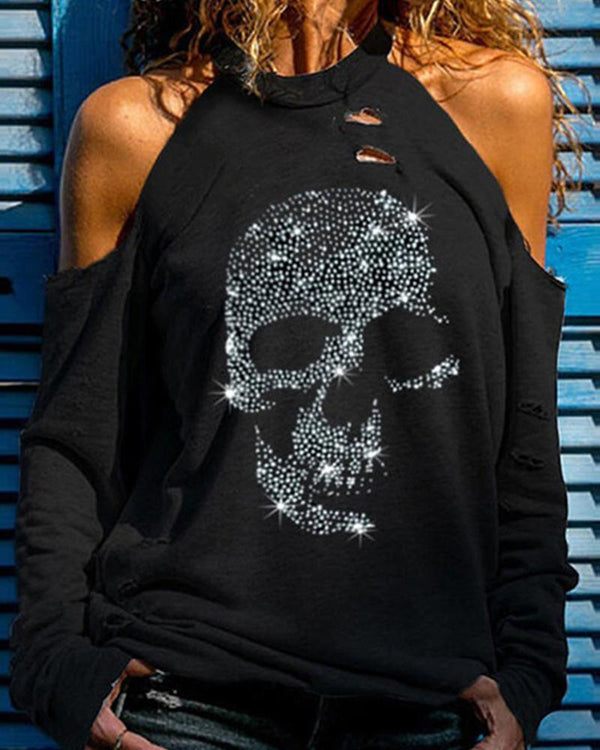 Beaded Skull Printing Long Sleeve T-shirt