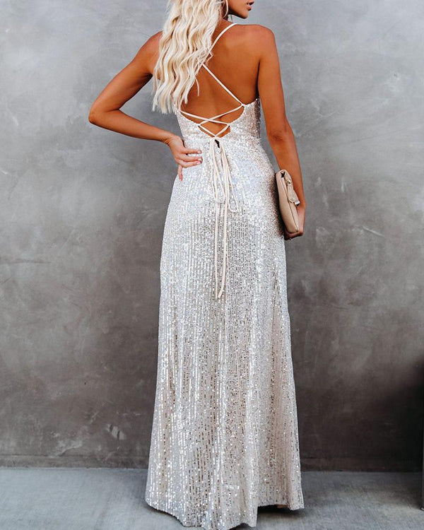 Solid Color Ruffle Sequin Long Dress