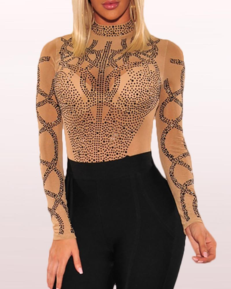 Sheer Mesh High Neck Sequins Bodysuit