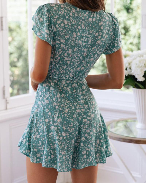 Floral Deep V Tie Waist Mini Dress