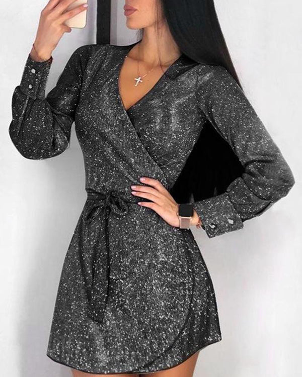 Sequined V Neck Wrap Mini Dress