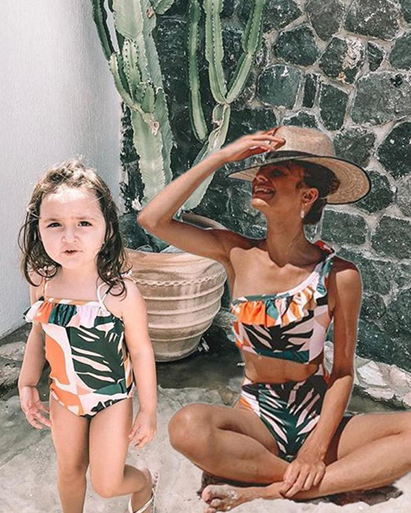 Tropical Print One-Piece Swimsuit For Mom