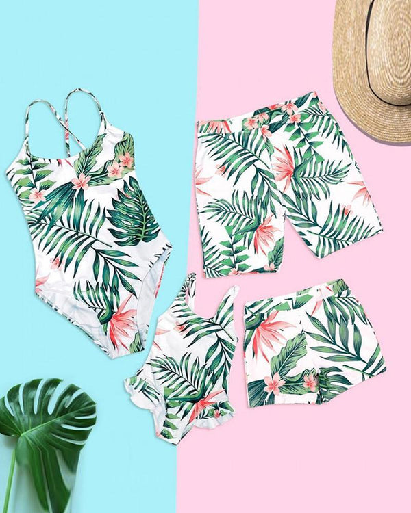 Tropical Cami One-Piece Swimsuit For Small Girls