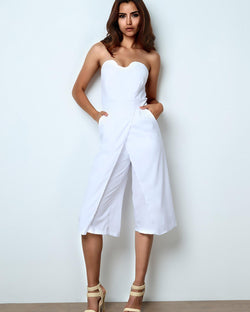 Sexy High Slit Patchwork Strapless Flared Jumpsuit