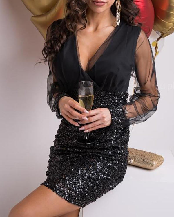 Sheer Mesh Patchwork Plunge Sequins Dress