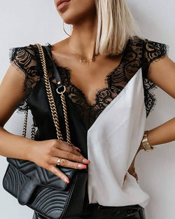 V-neck Stitching Lace Top