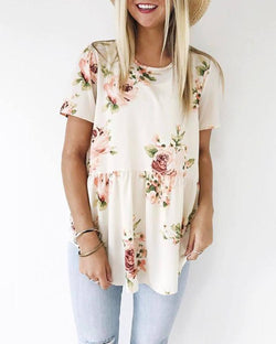 Round Neck Short Sleeve Floral T-Shirt