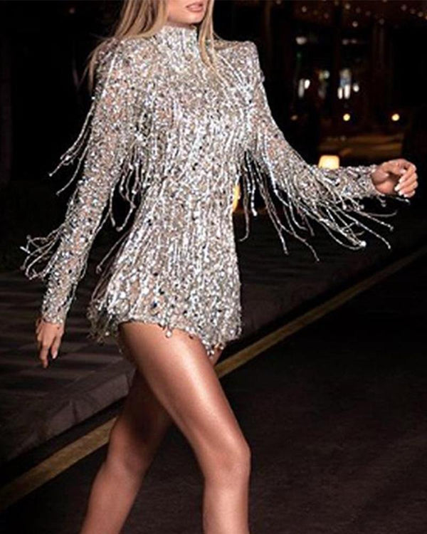 Sequin Tassel Mini Dress