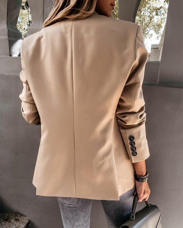 Solid Long Sleeve Fitting Blazer