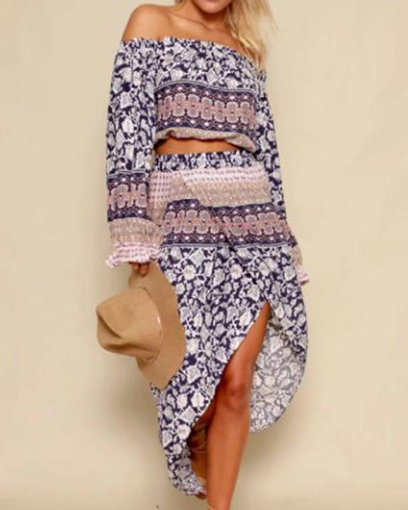 Off Shoulder Boho Print Two-Piece Set