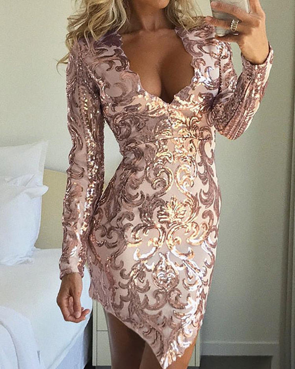 Long Sleeve Deep V Sequin Dress