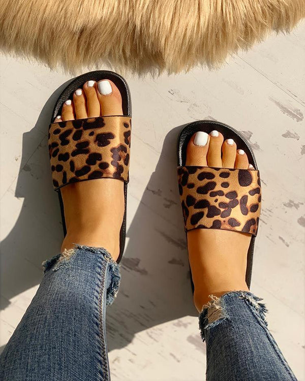Leopard Pattern Open Toe Slippers