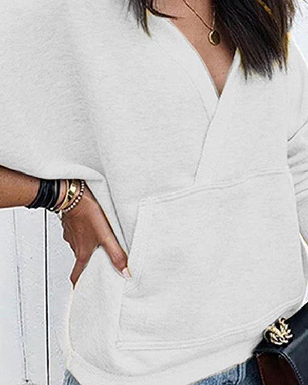 V Neck Solid Pocketed Sweatshirt