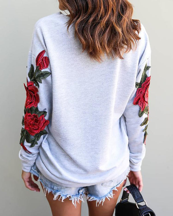 Embroidered Ripped Skew Neck Casual Sweatshirt