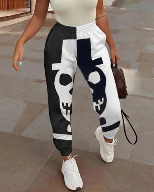 Color Block Skull Printing Pencil Pants