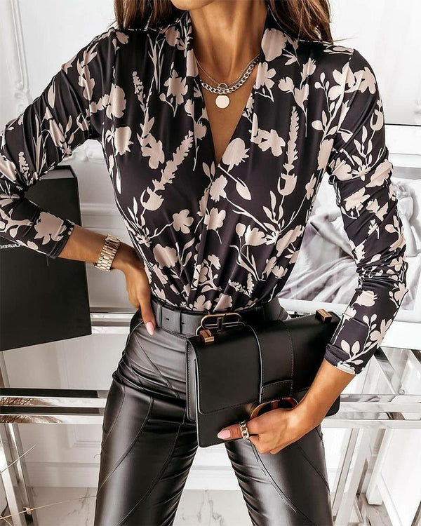 Floral Print Long Sleeve Loose Blouse