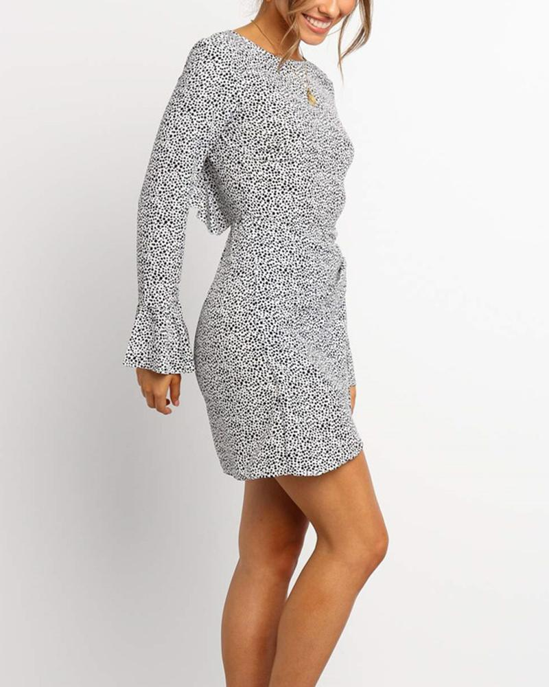 Bell Sleeve Dot Print Dress