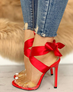 Crisscross Transparent Strap Bow Sandals