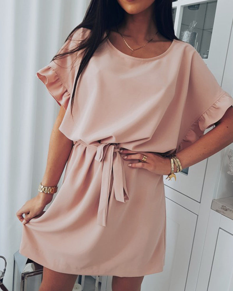Solid Short Sleeve Ruffles Casual Dress