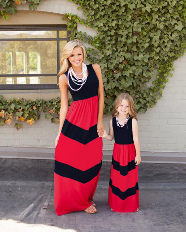 Striped Shift Maxi Dress For Small Girls