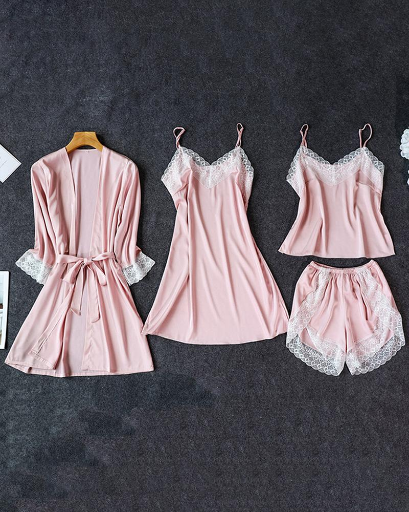 Satin Lace Trim 4PCS Sleepwear Sets