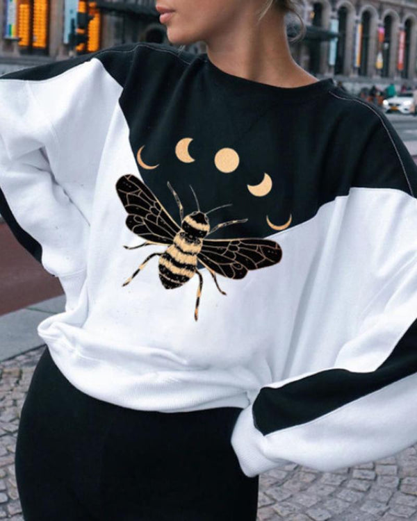 Color Block Bee Printing Long Sleeve Sweatshirt