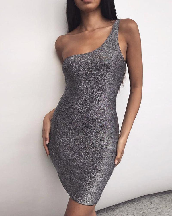 One Shoulder Strap Bodycon Dress