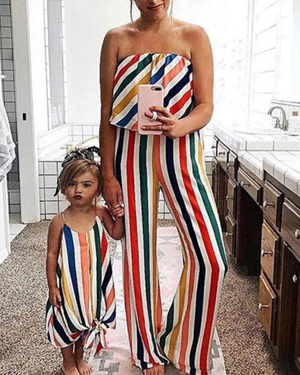 Colorful Striped Jumpsuit For Mom