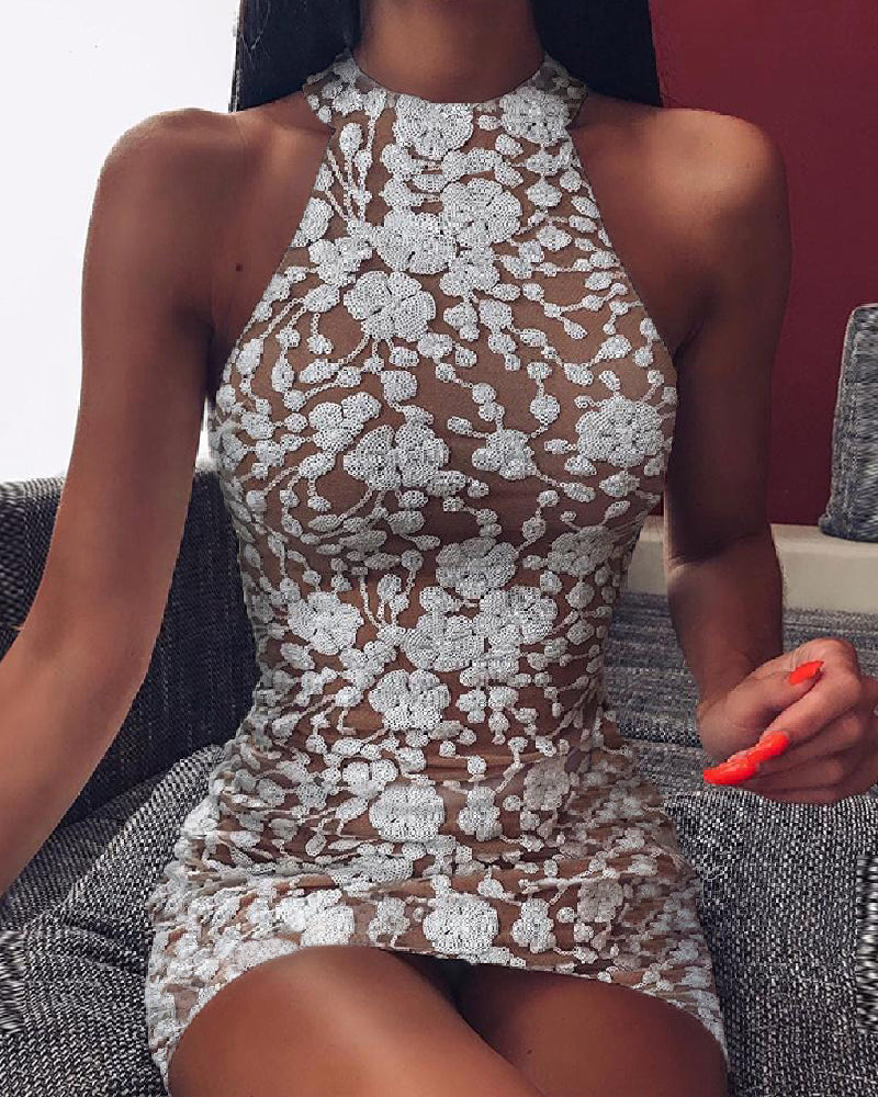 Halter Sleeveless Embroidery Bodycon Dress