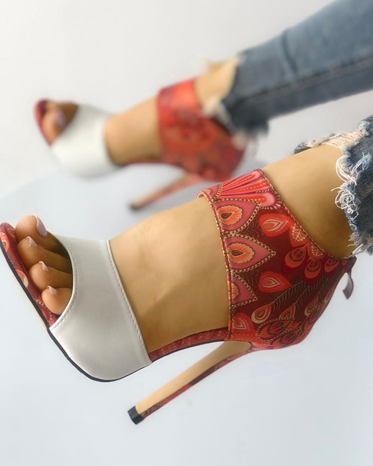 Contrast Color Open Toe Thin Heeled Sandals