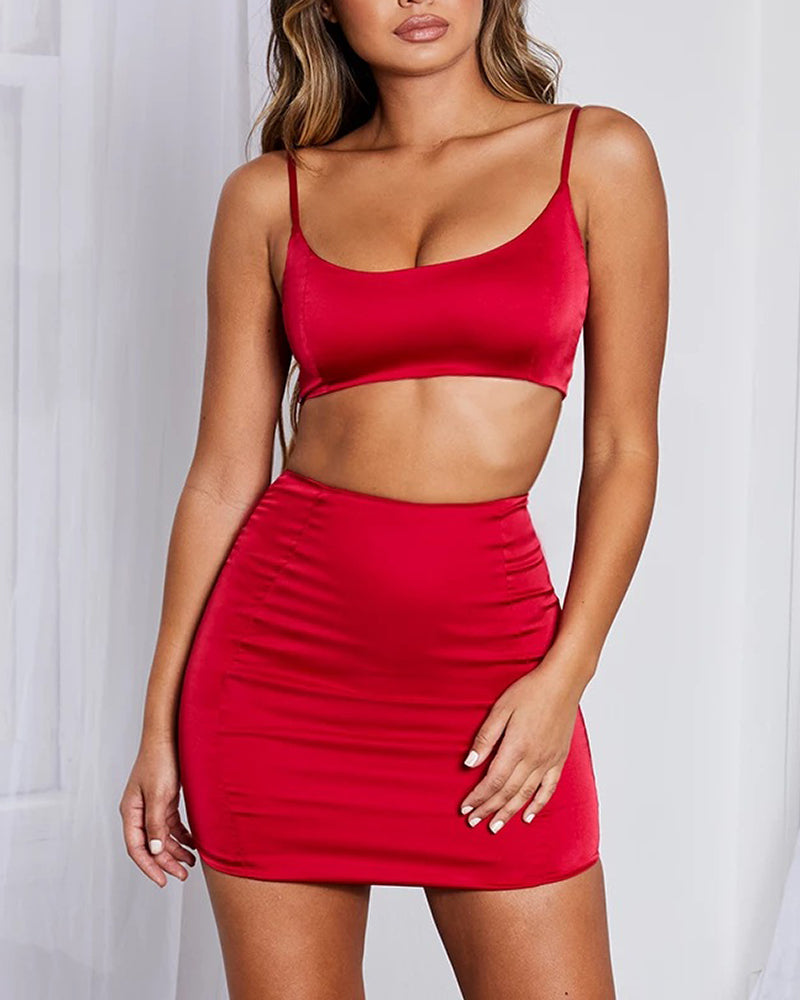 Solid Cami Top & Mini Bodycon Skirt Set
