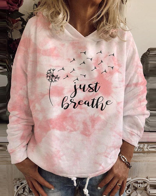 Tie Dye With Letter Printing Long Sleeve Loose Sweatshirts