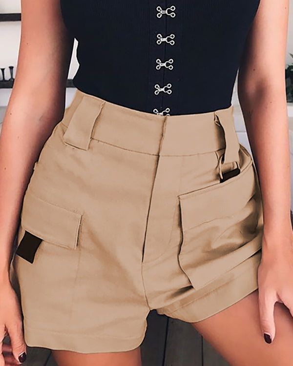 High Waist Solid Pockets Casual Shorts