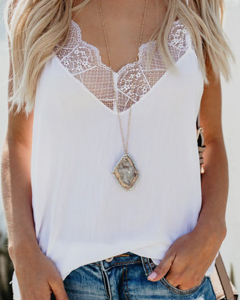 V-neck Lace Spaghetti Strap Top