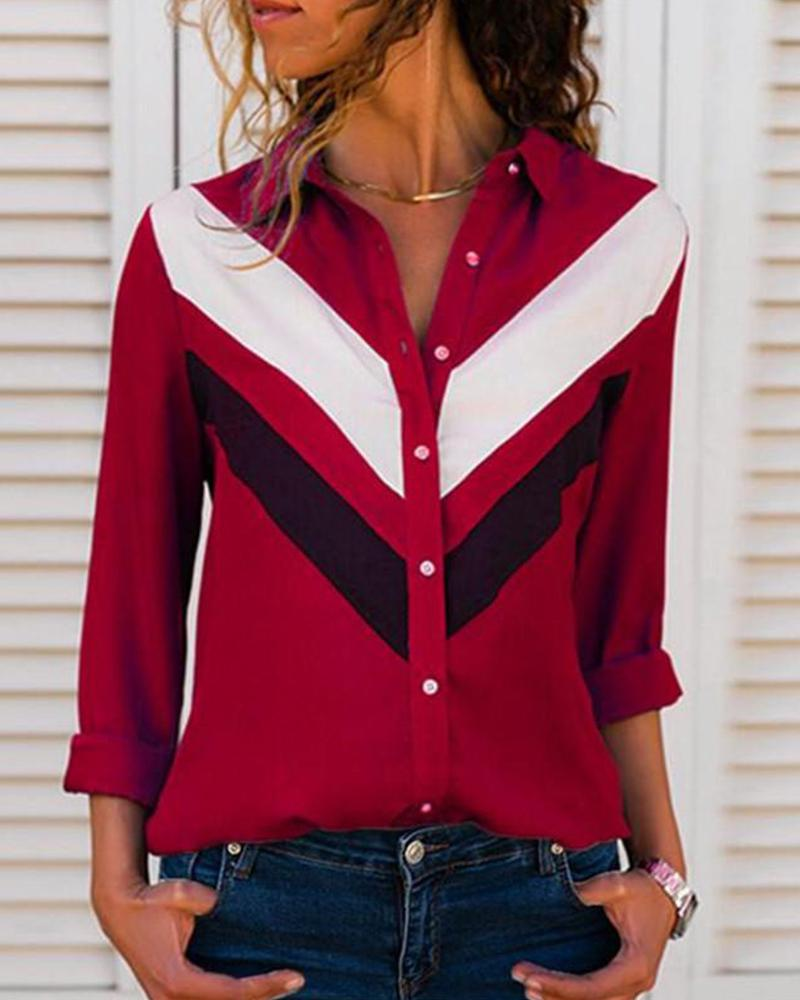 Contrast Color Button-Up Long Sleeve Shirt