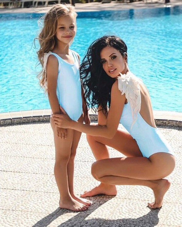 Angel Wings One-Piece Swimsuit For Small Girls