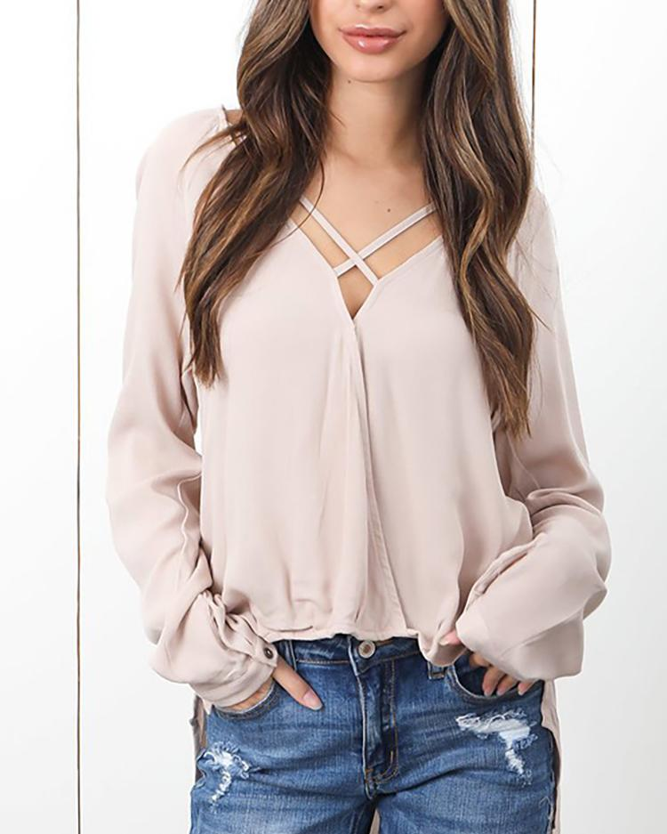 Caged V Neck Casual Blouse