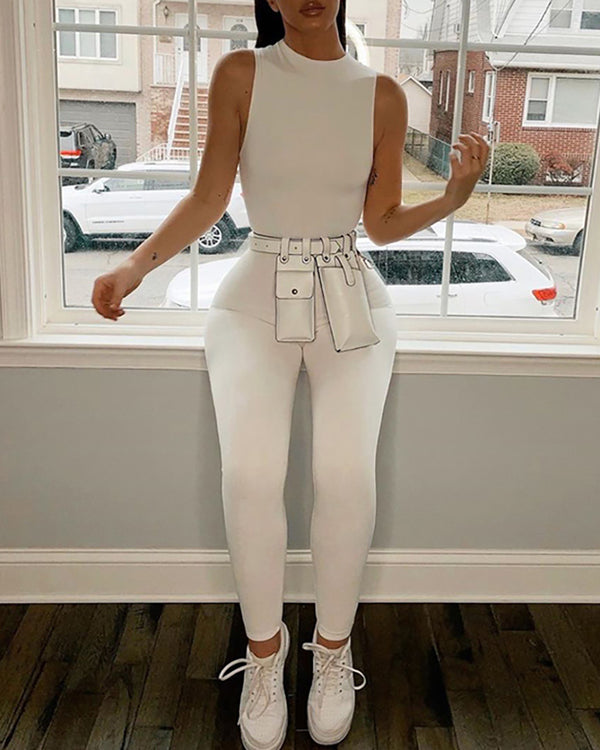 Round Neck Sleeveless Solid Jumpsuit