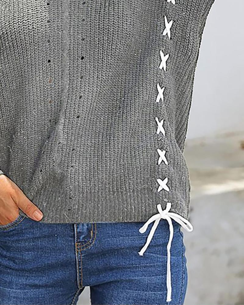 Solid Lace-Up Backless Bowknot Detail Sweater