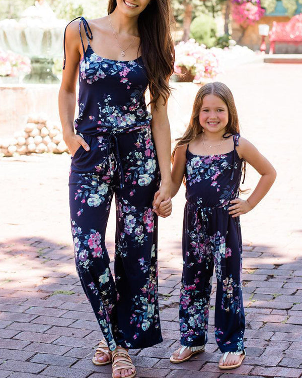 Floral Print Cami Jumpsuit For Small Girls