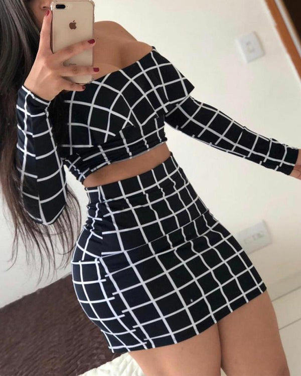 Plaid Long Sleeve Off Shoulder Top With Mini Dress Suit Sets